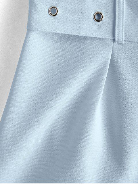 women's ZAFUL Belted Zip Fly High Waisted Shorts - SKY BLUE S Mobile