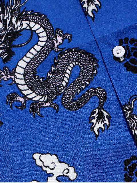 trendy Dragon Oriental Print Graphic Shirt - BLUEBERRY BLUE XL Mobile