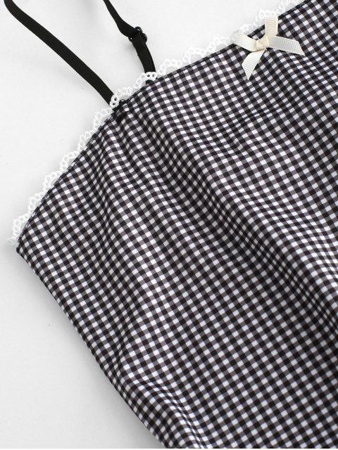 outfit Gingham Crochet Insert Bowknot Bodycon Dress - BLACK S Mobile