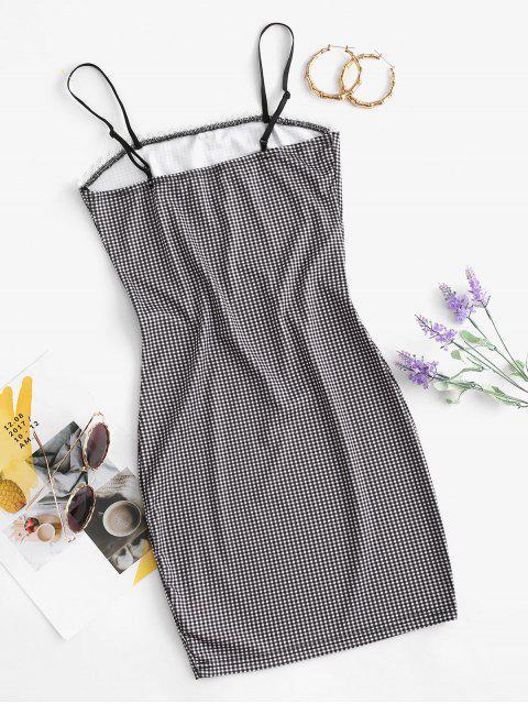 latest Gingham Crochet Insert Bowknot Bodycon Dress - BLACK M Mobile