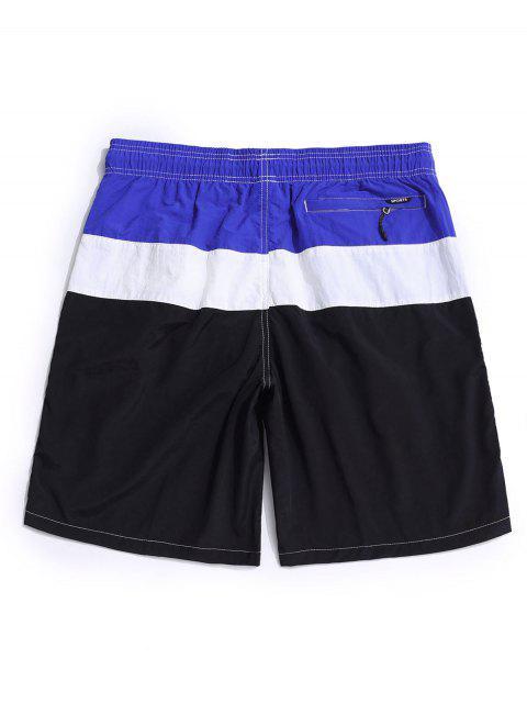 latest Color Spliced Elastic Waist Casual Shorts - BLACK 3XL Mobile