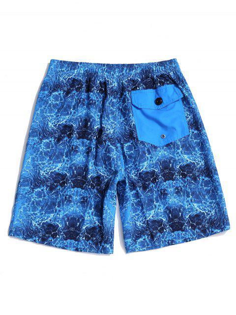 ladies Sea Wave Printed Elastic Waist Casual Shorts - SILK BLUE L Mobile