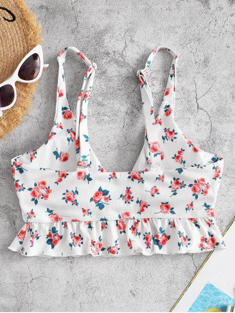 ZAFUL Ribbed Flower Ruffle Plunging Bikini Top - أبيض L Mobile