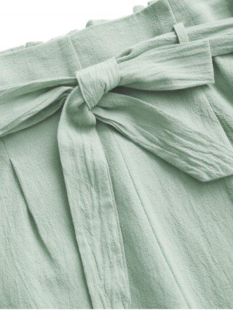 latest ZAFUL Smocked Back Cropped Belted Jogger Paperbag Pants Set - LIGHT GREEN L Mobile