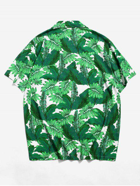 best Tropical Leaf Pattern Vacation Shirt - SEA TURTLE GREEN S Mobile