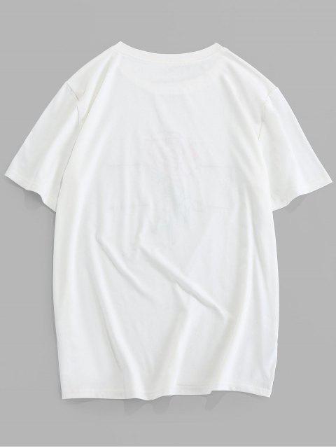 ZAFUL T-shirt de Manga Curta com Bordado de Padrão da Rosa - Branco M Mobile