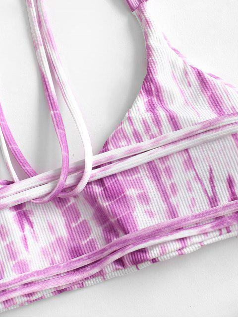 chic ZAFUL Ribbed Tie Dye Strappy High Leg Bikini Swimwear - PURPLE S Mobile