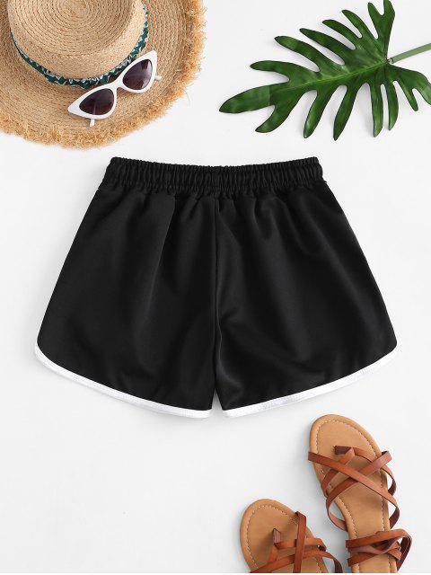 Tunnelzug Taillen Piping Delphin Shorts - Schwarz Eine Größe Mobile