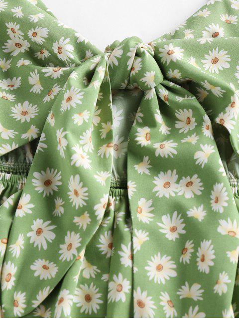 hot ZAFUL Daisy Print Tied Ruffle Cutout Romper - GREEN S Mobile