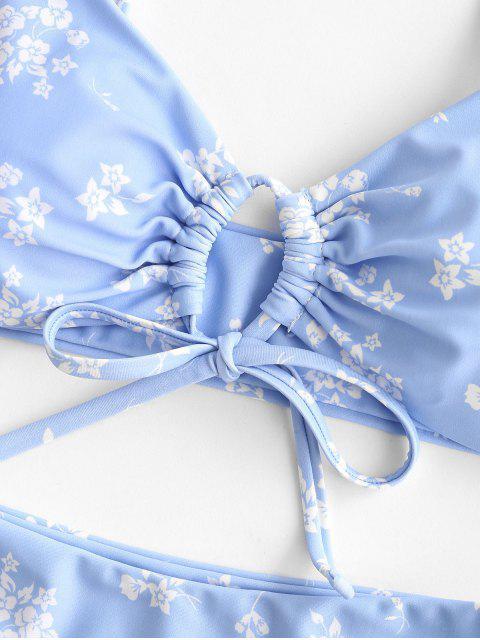 latest ZAFUL Cinched Ditsy Print Bikini Swimwear - LIGHT SKY BLUE S Mobile