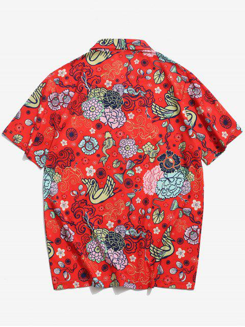 women's Flower Paradise Graphic Vacation Shirt - RED M Mobile
