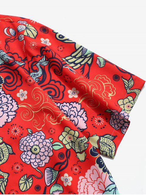 ladies Flower Paradise Graphic Vacation Shirt - RED L Mobile