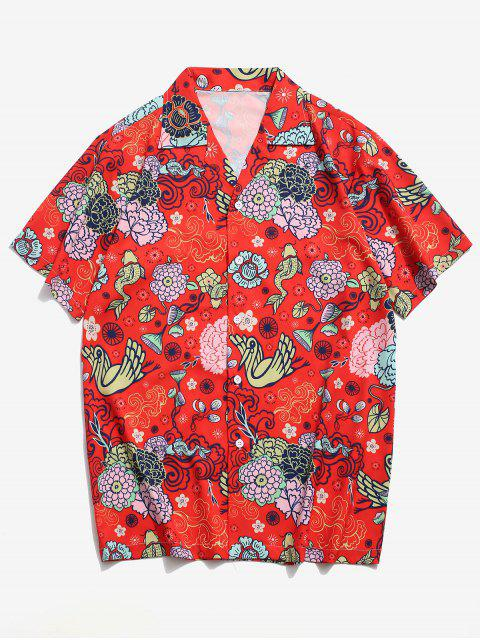 best Flower Paradise Graphic Vacation Shirt - RED 2XL Mobile