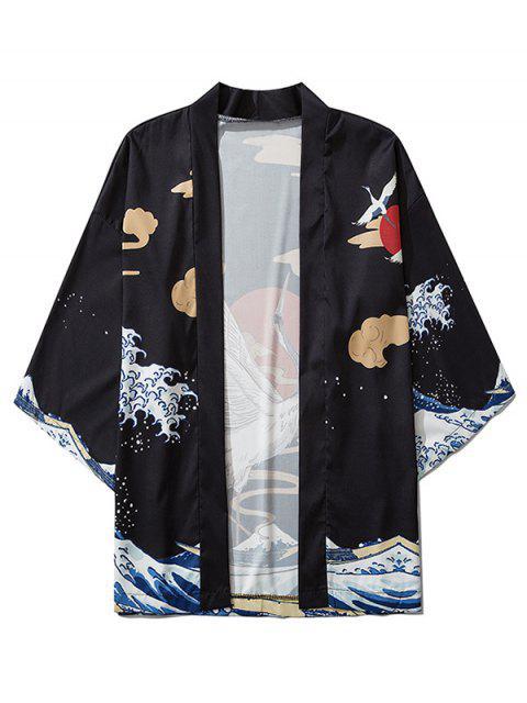 buy Flying Crane Asian Waves Oriental Print Kimono Cardigan - BLACK L Mobile