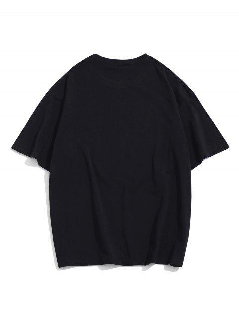 T-Shirt Basic con Grafica di Cartone - Nero XL Mobile