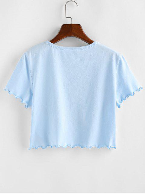 ladies ZAFUL Sun and Moon Lettuce Trim Crop T-shirt - LIGHT BLUE S Mobile