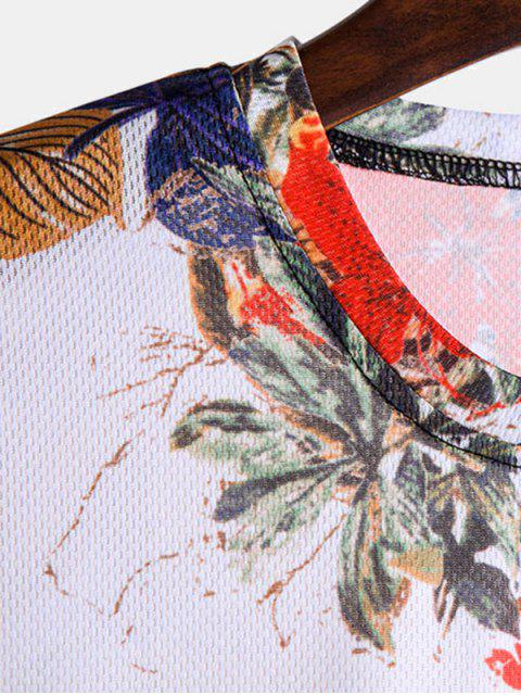 Camiseta Mangas Curtas Estampa de Folhas - Multi 3XL Mobile