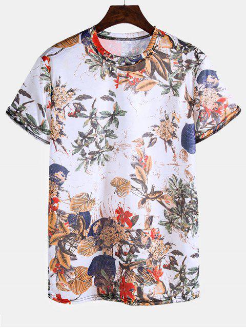 Retro Leaves Print Short Sleeve T Shirt - متعدد 3XL Mobile
