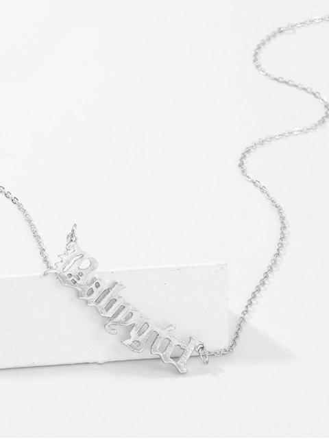 outfits Hollow Out Pendant Monogram Necklace - SILVER  Mobile