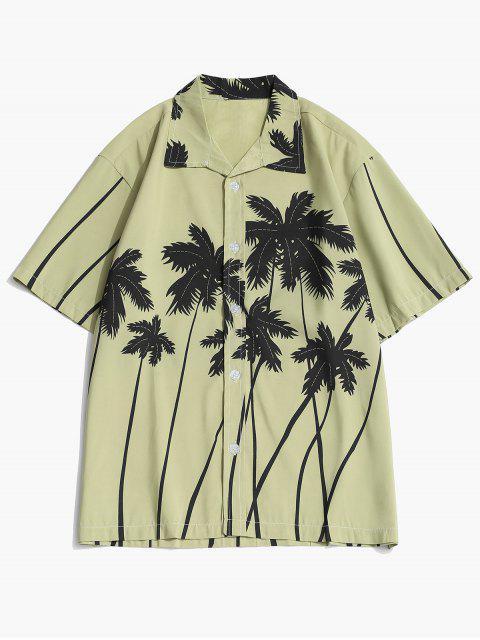 women Coconut Palm Print Hawaii Shirt and Beach Shorts - PISTACHIO GREEN XS Mobile
