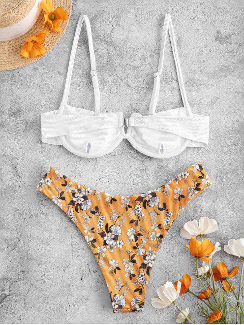 new ZAFUL Ribbed Floral V-notch Underwire Balconette Bikini Swimwear - RUBBER DUCKY YELLOW S Mobile