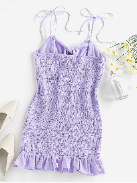 buy ZAFUL Tie Knot Ruffle Smocked Dress - PURPLE M Mobile