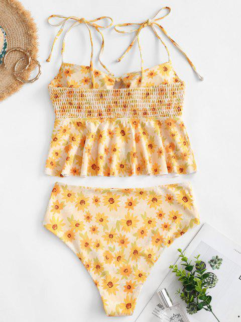 online ZAFUL Sunflower Smocked Tie Shoulder Peplum Tankini Swimwear - YELLOW L Mobile