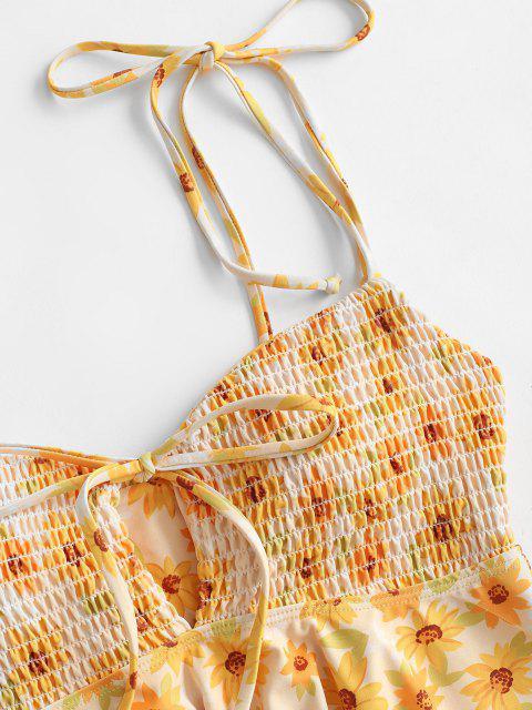 ZAFUL Gebundener Sonnenblumen Kittel Schulter Schößchen Tankini Badebekleidung - Gelb XL Mobile