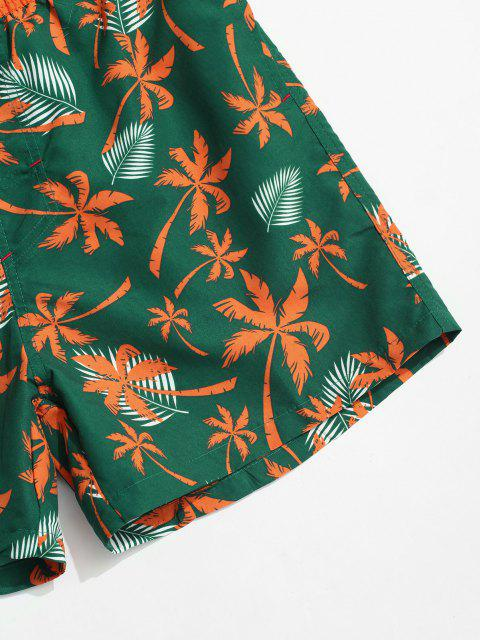 women Coconut Tree Leaf Print Casual Shorts - JUNGLE GREEN 3XL Mobile