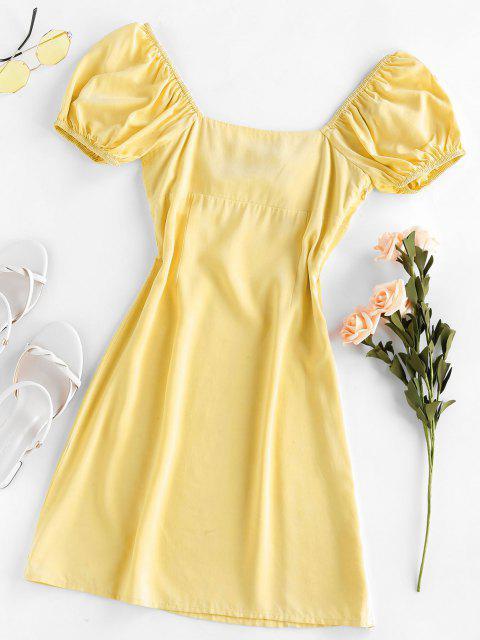 ZAFUL Verknotetes Schlitz Milkmaid Kleid - Zitrone Chiffon M Mobile