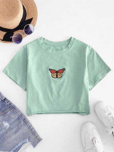 Raw Hem Butterfly Embroidered Cropped Tee - Green S