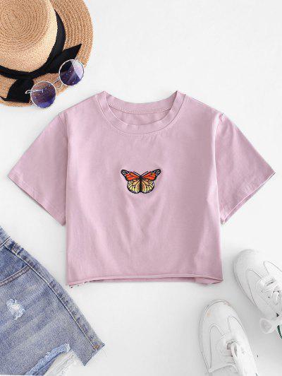 T-shirt Court Papillon Brodé à Ourlet Brut - Lilas M