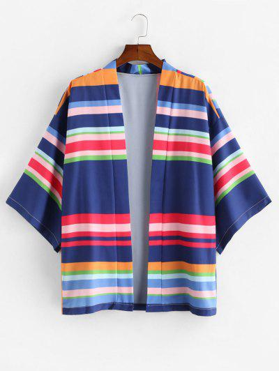Striped Print Open Front Kimono Cardigan - Multi-a M