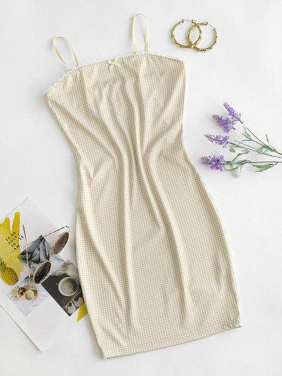 Gingham Crochet Insert Bowknot Bodycon Dress - Cornsilk L