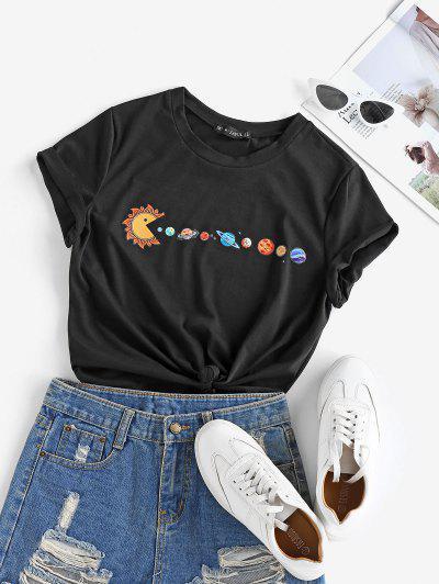 ZAFUL Planet Print Short Sleeve T-shirt - Black S