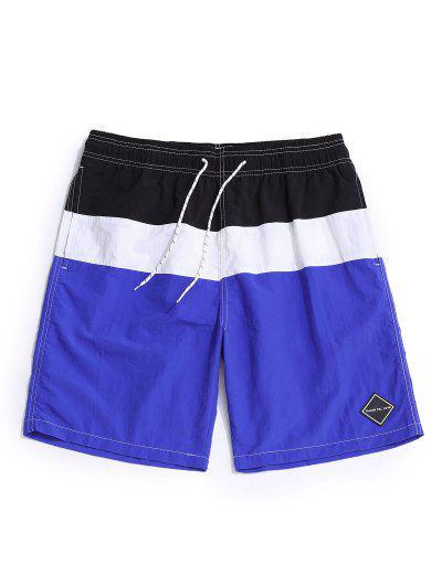 Color Spliced Elastic Waist Casual Shorts - Blue M