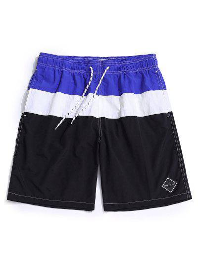 Color Spliced Elastic Waist Casual Shorts - Black 3xl