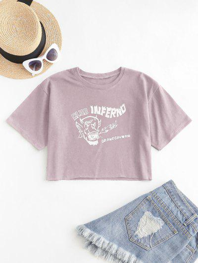 Cropped Graphic Front Basic Tee - Khaki Rose L