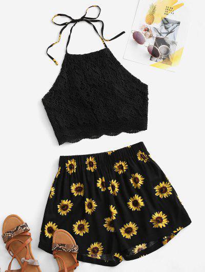 Crochet Lace Sunflower Halter Two Piece Set - Black L