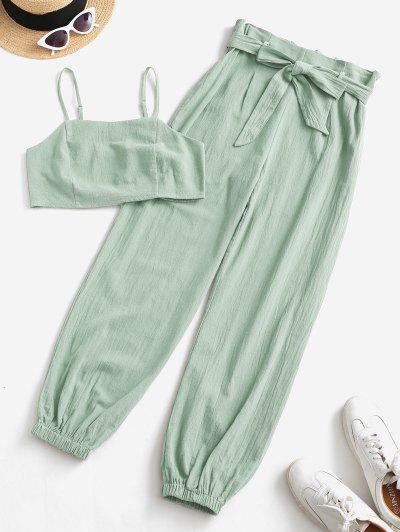 ZAFUL Smocked Back Cropped Belted Jogger Paperbag Pants Set - Light Green L