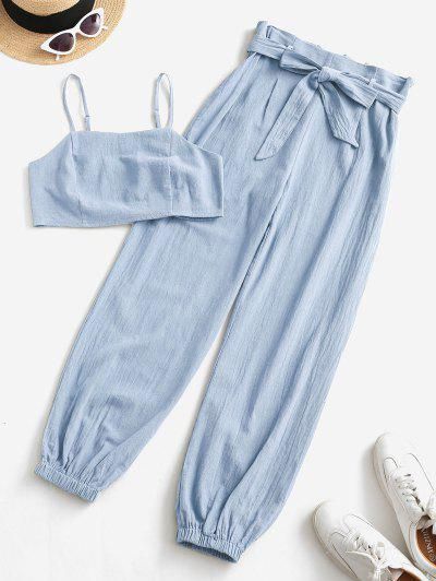 ZAFUL Smocked Back Cropped Belted Jogger Paperbag Pants Set - Light Blue M