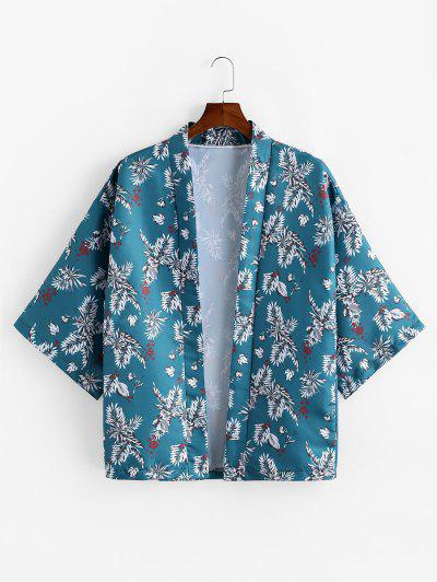 Leaf Pattern Casual Half Sleeves Shirt - Dark Turquoise Xl