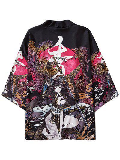 Cárdigan Kimono Con Estampado De Flores Y Cinturón - Negro M
