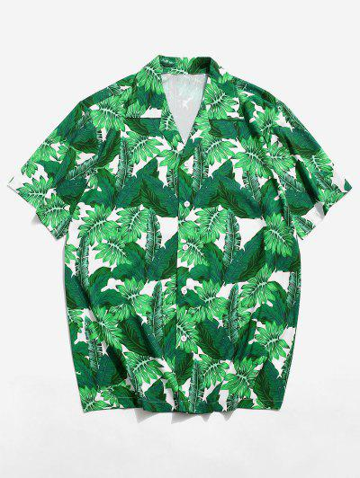 Tropical Leaf Pattern Vacation Shirt - Sea Turtle Green M