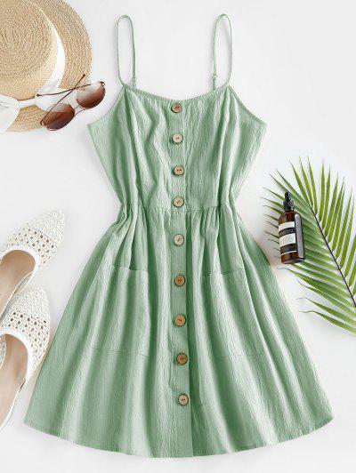 ZAFUL Button Up Shirred Cami Pocket Dress - Light Green S