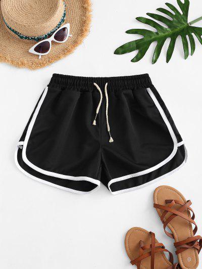 Drawstring Waist Piping Dolphin Shorts - Black
