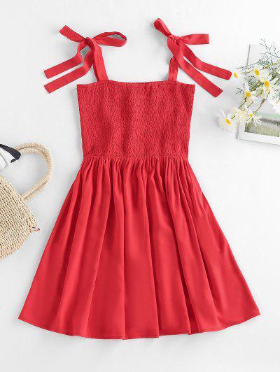 ZAFUL Smocked Tie Shoulder Mini Dress - Lava Red S