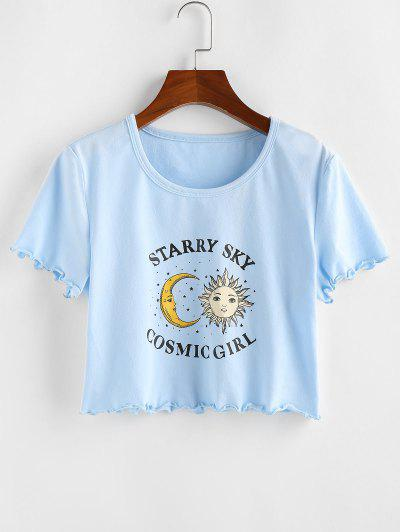 ZAFUL Sun And Moon Lettuce Trim Crop T-shirt - Light Blue M