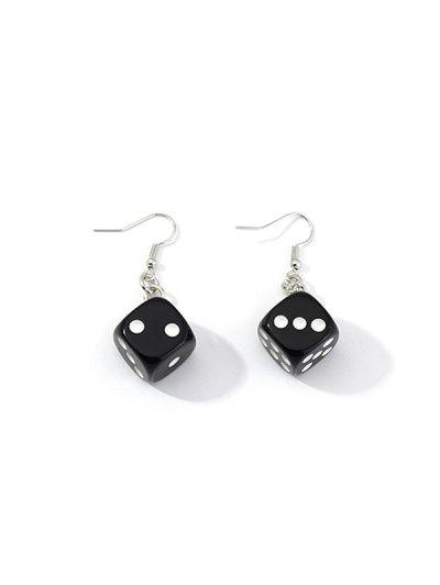 Dice Resin Drop Earrings - Black