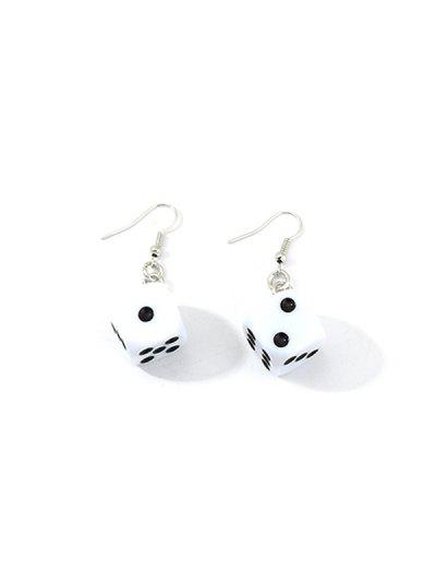 Dice Resin Drop Earrings - White